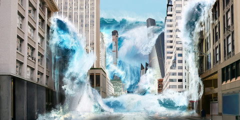 Big tsunami wave destroy city with flooding on streets with skyscrapers new yourk or tokio japan