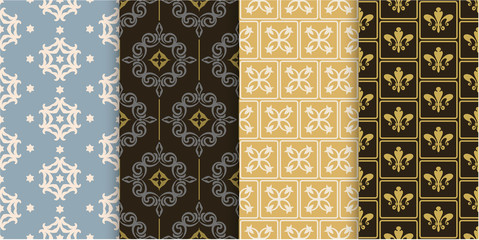 Vector seamless pattern. Set of background wallpapers in retro style. Colors: gold, beige, yellow.