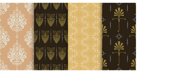 Vector seamless pattern. Set of background wallpapers in vintage and modern style. Colors: black, gold, beige. Graphic templates for your design