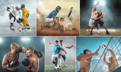 Collage of sports shots of soccer, football, beach volleyball, baseball and athletic jumper. All athletes in dynamic actions.