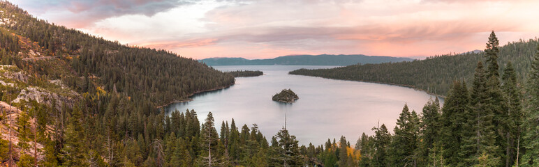 Panoramic sunset view over Fannette Island at Emerald Bay in Lake Tahoe