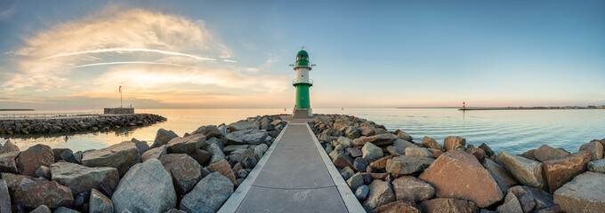 Westmole lighthouse in Warnemünde near Rostock