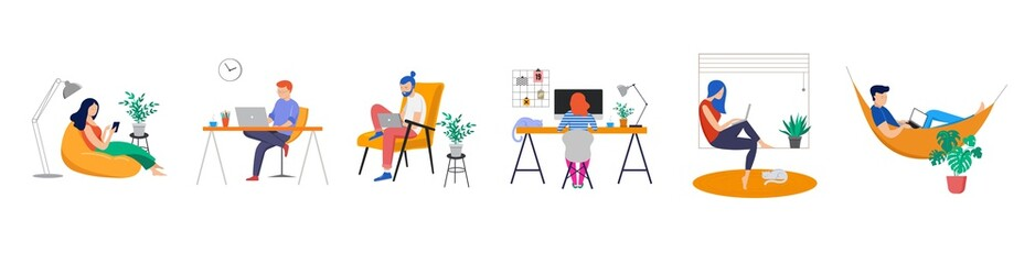Working at home, coworking space, concept illustration. Young people, man and woman freelancers working on laptops and computers at home. People at home in quarantine. Vector flat style illustration