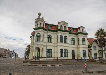 Famous German Hohenzollernhaus in the city of Swakopmund at the Atlantic Ocean in Namibia