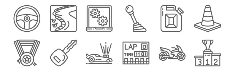 set of 12 motor sports icons. outline thin line icons such as podium, lap, car key, jerrycan, laptop, race track