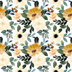 green yellow floral watercolor seamless pattern