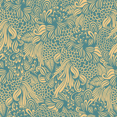 Abstract seamless pattern with hand drawn textures. Vector background.