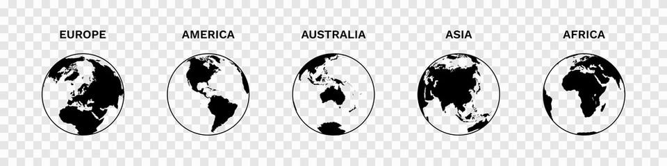 Set of Globe Illustration Vector of 5 Continents : Europe America Australia Asia Africa. World map vector illustration black silhouette bundle