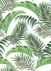 Green tropical palm leaves seamless vector pattern on the black background.Trendy summer print.