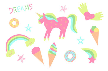 Set of children's elements of fairy-tale drawings and characters unicorn rainbow, clouds and heart, ice cream.