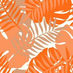 Beautifull tropical leaves branch  seamless pattern design