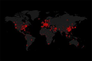 World map of Coronavirus Covid-19. Global pandemic outbreak concept.