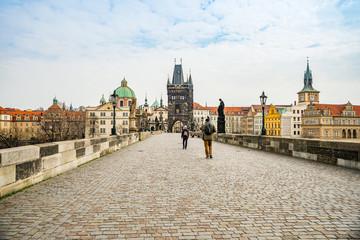 Prague, Czech republic - March 19, 2020. Charles Bridge without tourist during Covid-19 travel ban