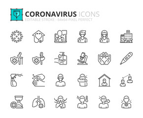 Simple set of outline icons about  Coronavirus prevention and symptoms. Health care.