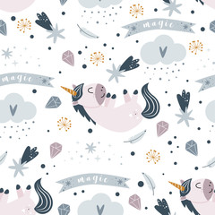 seamless pattern with magic unicorn on a white background - vector illustration, eps