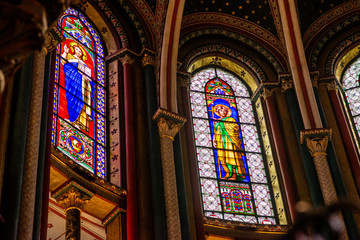 Stained sglass windows of Saint-Germain-des-Prés church, Paris, France, Europe