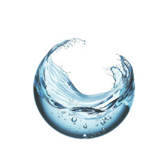 water liquid splash in sphere shape isolated on white background, 3d illustration.
