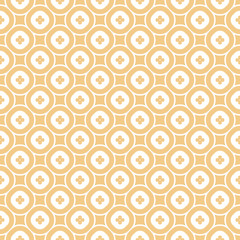 Vector abstract ornamental floral seamless pattern. Vintage geometric background with small flower shapes, circles, squares, repeat tiles. Texture in beige tan and white colors. Stylish modern design