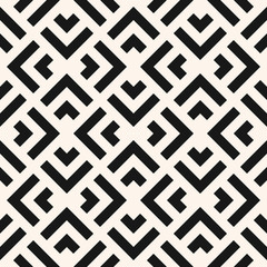 Vector geometric seamless pattern with squares, rhombuses, arrows, grid, lattice, net, mesh. Abstract black and white graphic ornament. Modern monochrome linear background texture. Repeat geo design