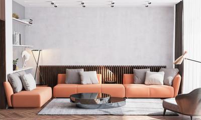 Scandinavian interior design of living room with orange sofa furniture, vintage beige wallpaper background and wooden wall stripes, black table, gold accessories on glass shelf. poster mock up frame