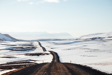 Quiet gravel road, north iceland