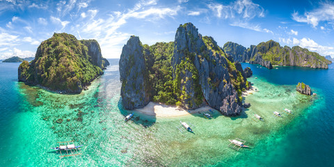 Coastal Scenery of El Nido, Palawan Island, The Philippines, a Popular Tourism Destination for Summer Vacation in Southeast Asia, with Tropical Climate and Beautiful Landscape.