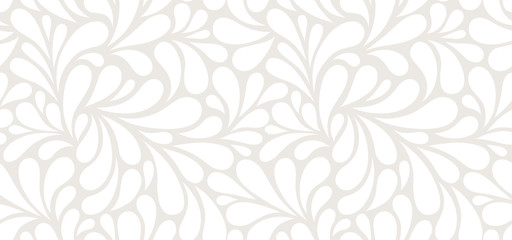 Vector seamless beige pattern with white drops. Monochrome abstract floral background.