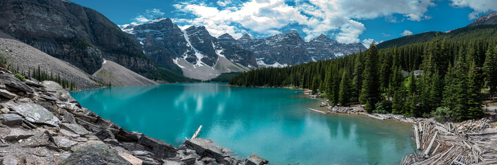 Panoramic view of Moraine Lake in Banff National Park, Canada. Summer in Canada.