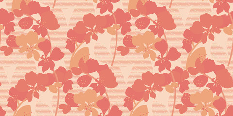 Orange orchid abstract floral seamless pattern