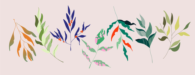 Set of colourful vector tree branches. Red, green, purple and orange leafs, red berries. Trendy hand drawn illustration. Natural, botanical isolated items. Set of garden floral design elements.