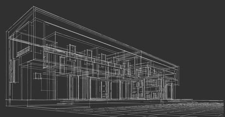 modern house architectural sketch 3d illustration