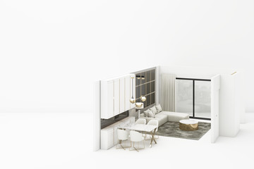 Interior living modern classic style mock up with white furniture on white background 3D rendering