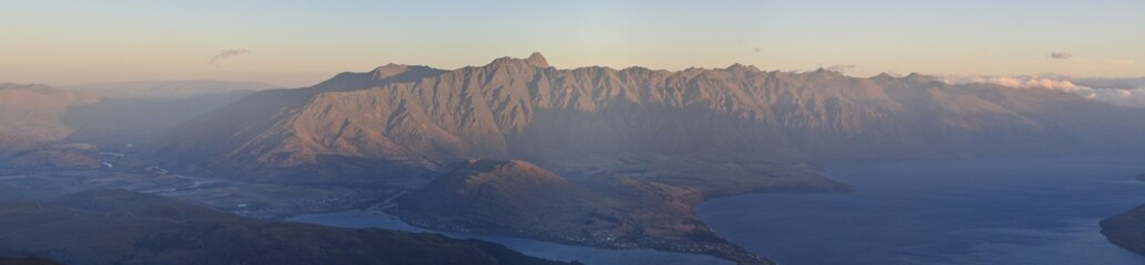 Panorama of the Remarkable's mountain range in Queenstown, New Zealand