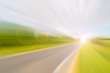 Blurred dynamic background. Speed on the road. Car track in motion.