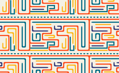 seamless pattern with colored geometric lines. orange, blue, violet, yellow color