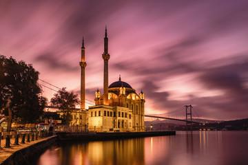Ortakoy mosque and Bosphorus bridge at sunrise, Istanbul, Turkey