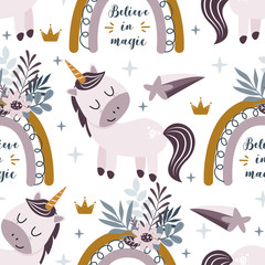 seamless pattern with pink unicorn and rainbow on a white background  - vector illustration, eps