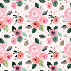 sweet pink green floral watercolor seamless pattern