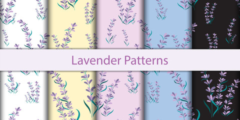 Seamless floral lavender pattern background, Vector lavender and leaf, Hand drawn decorative element, Seamless backgrounds and wallpapers for fabric, packaging, Decorative print, Textile