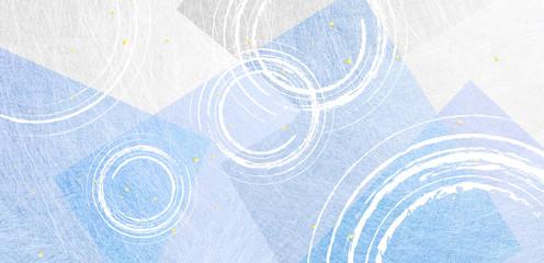 波紋のパーターンとブルーの和紙の背景素材