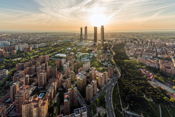 Aerial view of Madrid at sunrise