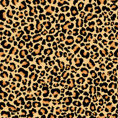 Leopard print. Realistic seamless pattern. Abstract animal background.