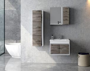 Modern bathroom and bathroom furnitur. 3d rendering and design. 3d rendering