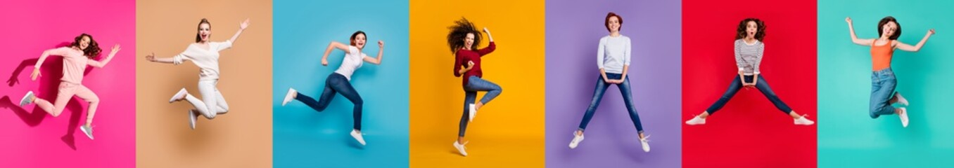 Motivation motion yes yeah concept. Full body collage of seven beautiful cheerful nice lucky different pretty ladies millennials in casual outfit jumping up isolated over multicolored background