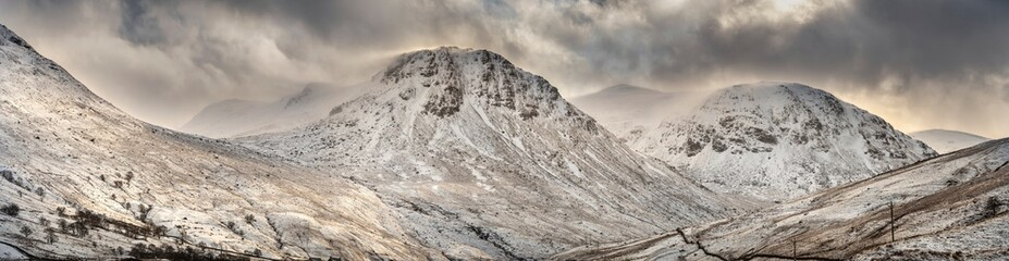 Typical Scottish panorama view, road in the mountains, Highlands, Scotland
