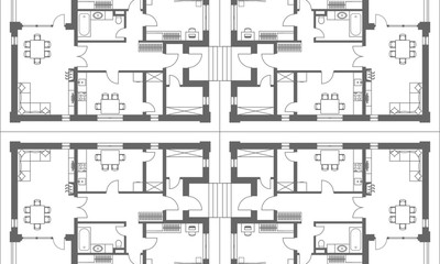 Architectural background. Part of architectural project, architectural plan of a residential building.