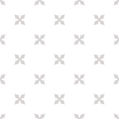 Subtle vector floral texture. Geometric seamless pattern with flower silhouettes, crosses. Simple abstract ornament. White and light gray minimalist background. Repeated design for decor, wallpapers