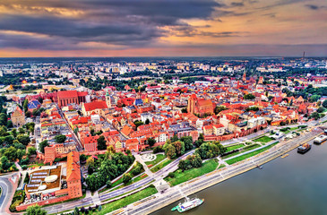 Aerial view of Torun city with the Vistula River. UNESCO world heritage in Poland