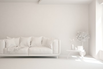 White minimalist living room with sofa. Scandinavian interior design. 3D illustration