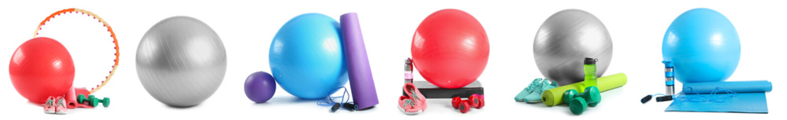 Set of sports equipment with fitness balls on white background